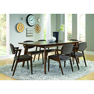 Grey and Dark Walnut Dining Side Chairs, Set of 2