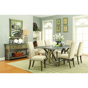 Tan and Driftwood Upholstery Side Chairs with Nailhead Trim, Set of 2