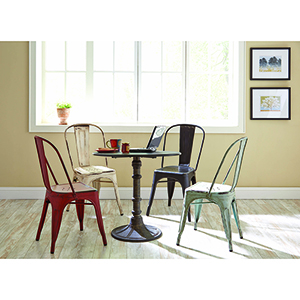 White Metal Dinning Chairs, Set of 4