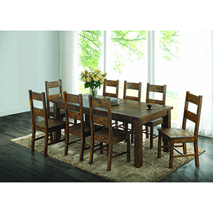 Rustic Golden Brown Dining Table with Over-sized Block Legs