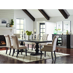 Beige and Smokey Black Upholstered Dining Side Chairs with Diamond Tufting, Set of 2