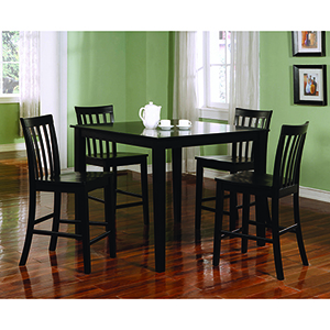 Black Five-Piece Counter Height Dining Set