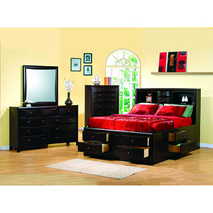 Cappuccino Queen Bookcase Bed with Underbed Storage Drawers