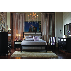 Grey and Black Queen Bed with Metallic Upholstery