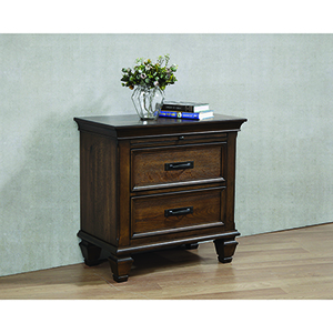 Burnished Oak Two-Drawer Nightstand with Pull Out Tray