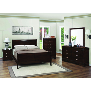 Cappuccino Eastern King Panel Sleigh Bed