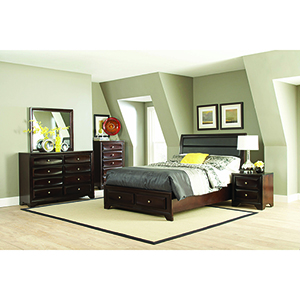 Brown Eastern King Bed with Upholstered Headboard and Storage Footboard