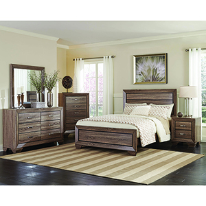 Washed Taupe Queen Bed with Panel