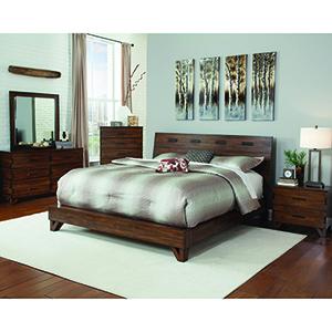 Dark Amber and Coffee Bean Queen Platform Bed