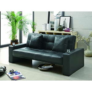 Black Sofa Bed with Cup Holders in Armrests