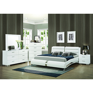 Metallic Accents White Queen Upholstered Bed