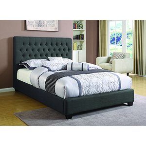 Black Upholstered Eastern King Bed with Tufted Headboard