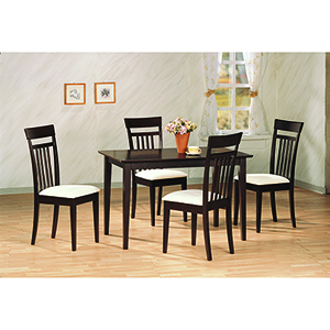Cappuccino 5-Piece Dining Set with Upholstered Chairs