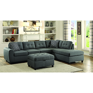 Grey Sectional with Button Tufted Cushion