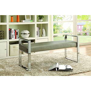 Champagne and Chrome Upholstered Bench