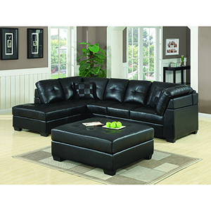 Black Sectional Sofa with Left-Side Chaise