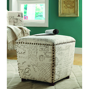 Off White Upholstered Ottoman with Nailhead Trim
