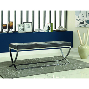 Black and Chrome Man-Made Leather Bench with Metal Base