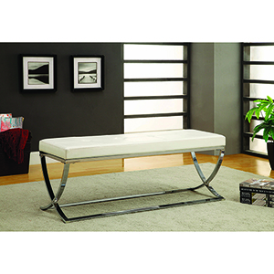 White and Chrome Man-Made Leather Bench with Metal Base