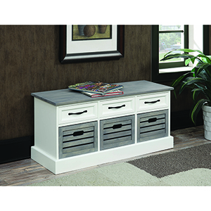 White and Grey Six-Drawer Storage Bench