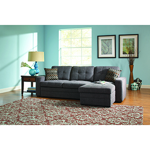 Charcoal Sectional Sofa with Pull Out Bed