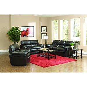 Black Split Back Leather-Like Sofa
