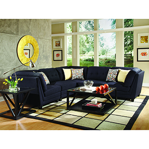 Midnight Blue and Black Corner Seat with Tufting