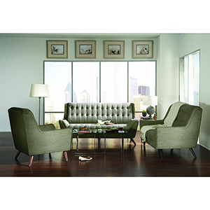 Dove Grey Loveseat with Exposed Wood Legs