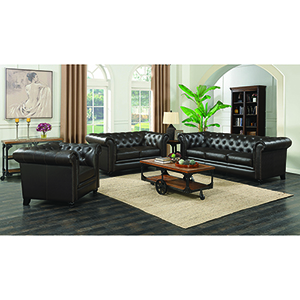 Brown Button-Tufted Loveseat with Rolled Back and Arms