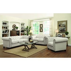 Cappuccino Sofa with Rolled Back and Arms Oatmeal