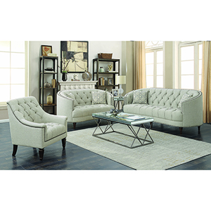 Brown Sofa with Button Tufting and Nailhead Trim