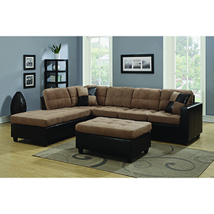 Tan and Chocolate Reversible Sectional