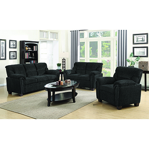 Brown Padded Sofa with Nail Head
