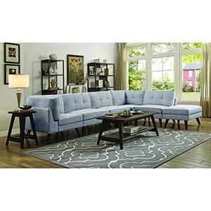 Grey Armless Chair with Button Tufted Cushion