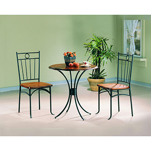 Honey and Black Three-Piece Bistro Dining Set