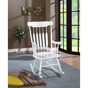 White Slat Back Rocking Chair