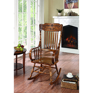 Brown Rocking Chair with Ornamental Headrest