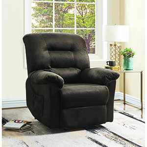 Chocolate Power Lift Recliner with Velvet Upholstery