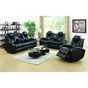 Black Reclining Power Sofa with Adjustable Headrests and Storage in Armrest