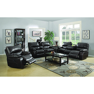 Dark Brown Motion Sofa with Drop-Down Table