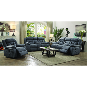 Grey Motion Loveseat with Cupholder Storage Console