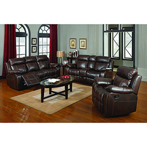 Chestnut Glider Loveseat with Console and Cup Holders