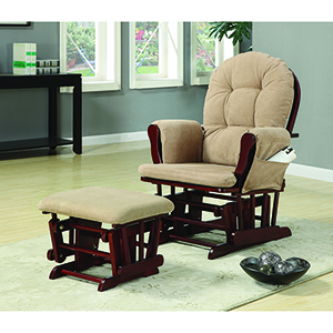 Beige and Cherry Upholstery Glider Rocker with Matching Ottoman