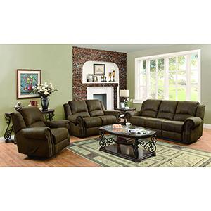 Brown Motion Sofa with Nailhead Studs Buckskin