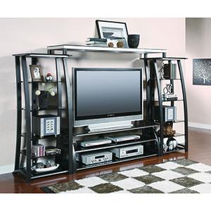 Matte Black Two-Shelf TV Console