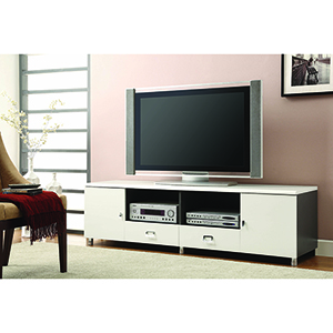 White and Chrome Two-Drawer TV Console with Two-Shelf
