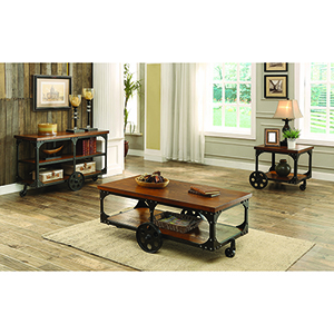 Brown End Table with Casters Rustic