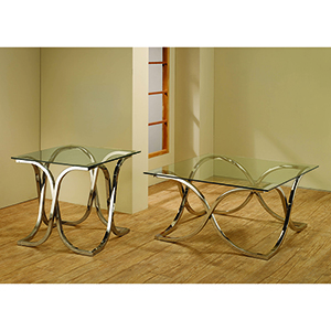 Transparent and Chrome Coffee Table with Tempered Glass Top