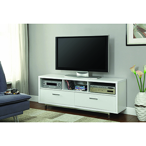White Two-Drawer TV Console with Three Storage Compartment