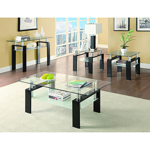 Black and Transparent Tempered Glass Coffee Table with Shelf
